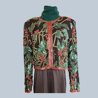 Beautiful Beaded Holiday Jacket & Sweater Ensemble