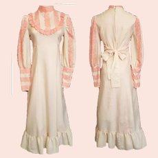 Delicious APRICOT Prairie-Western Maxi Dress