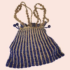 Edwardian Bright Midnight Blue Beaded Beggars Bag
