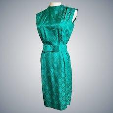 Exquisite Emerald Jewel of a 1960's Brocade Tailored Suit