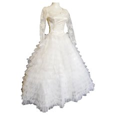FAIRY-TALE Ruffled Satin & Lace Wedding Gown