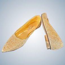 Gold Lamé Vintage Slip-Ons