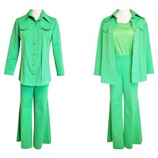 Go GREEN!!  1970's Knit Pant Suit