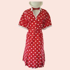 HAPPY Red & White Polka Dot Dress
