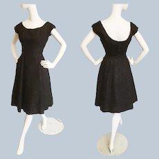 Hattie Carnegie 1950's Black Lace Cocktail Dress