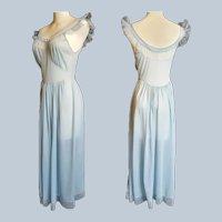 Hollywood Glam Dusty Blue Boudoir Night Gown