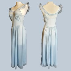 Hollywood Glam Dusty Blue Boudoir Night Gown