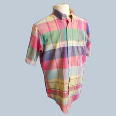 INDIA MADRAS 1960's - 70's Shirt, India-Woven, Made in USA