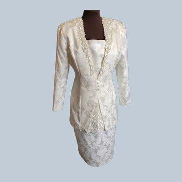 Ivory Brocade Sophisticated Scott McClintock Suit