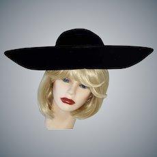 I. Magnin Big, Bold, Beautiful Black Velvet Hat
