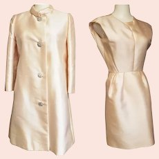 Jackie-0-Style Pale Pearl Pink Silk Suit - 1960's