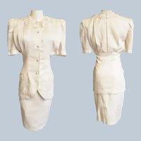 Jessica McClintock White Linen Safari Suit