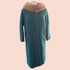 Kelly Green 1960's Wool Coat with Mink Collar