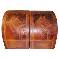 LEATHER Book Ends of Charles A. Ward (1886 - 1959)