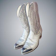 Laredo Gray Leather COWBOY Boots, Sz 12D