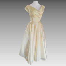 Lemon Silk Mid-Century Cocktail Dress