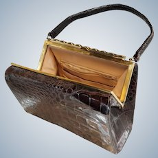 Mid-Century 1960's Alligator Handbag, BelleStone