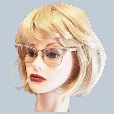 Mid-Century Cat-Eye Silver Eye Glasses
