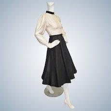 Mid-Century Gold & Black Party Dress