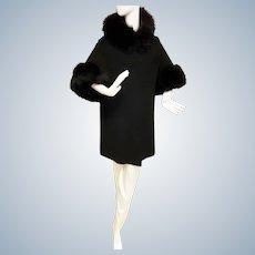 Mid-Century MOD Winter Cape/Coat Trimmed in FUR!