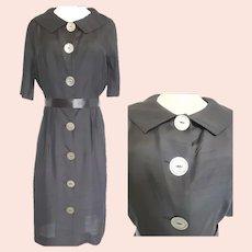 Mid-Century Mad-Men Big Button Black Dress