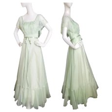 Mid-Century Mint Green Gorgeous Gown