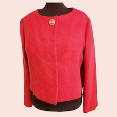 "Mid-Century Red ""Vogue Couturier Design"" Mohair Jacket"