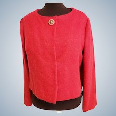 """Mid-Century Red """"Vogue Couturier Design"""" Mohair Jacket"""