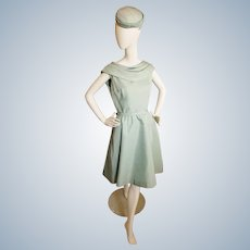 """Mid-Century """"Mint"""" Cocktail Dress and Hat"""