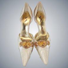 NINA Gold Jeweled Spike Heels