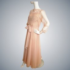 Peachy, Pretty Early 20th-Century-Style Gown