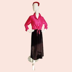 Perfect 3-Piece ENSEMBLE, Sparkly Velvet Skirt, Magenta Blouse & Hat!