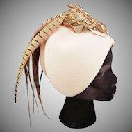 1920's CLOCHE-Style Pheasant Hat