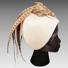 1920's CLOCHE-Style Pheasant Hat