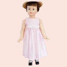 Pink Gingham Checked Little Girl's Dress; 3T;