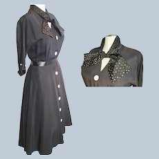 Pink & Black 1950's Sophisticated, 'Smart' Shirtwaist