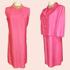 Pretty-in-Pink Bejeweled 1960's Dress & Jacket Ensemble