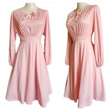 Pretty PINK Peasant Dress - 1970's