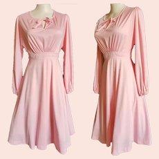 Pretty PINK Peasant Dress - 1970's