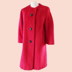 FLAME Red Mohair Coat---Mar Del by Rice