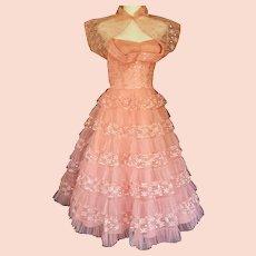 1950's Sparkly, Swinging, Strapless Gown & Bolero