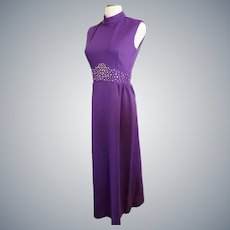 ROYAL Purple Bejeweled Mid-Century Gown