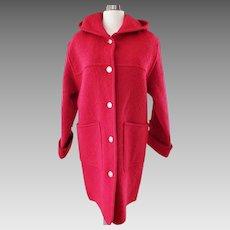Red Boiled-Wool Hooded Car Coat