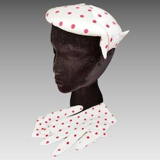 VINTAGE Red & White Polka Dot Hat & Gloves