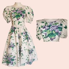 Roses are Red, Violets are Blue, A Beautiful, Joyful Dress Just for YOU!!  Mid-Century Style