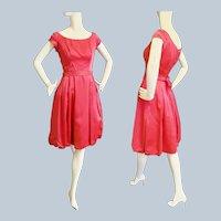 Rose Pink Satin Party Dress - 1960's