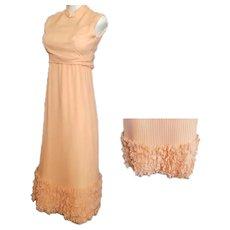 Ruffles & Pleats a'Plenty Peach Gown