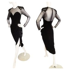 SIREN Black Velvet Illusion Glam Gown
