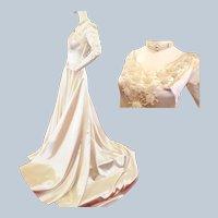 Satin & Starburst Pearl Romantic Wedding Gown-1940's