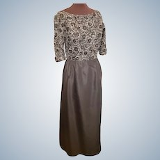 Satin, Silver & Sequinned Hollywood Glam Gown, Curvy Size